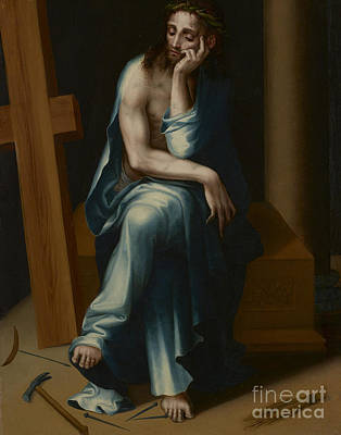 The Wooden Cross Painting - Man Of Sorrows by Luis de Morales
