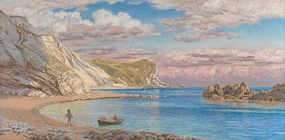 Color Painting - Man Of War Rocks, Coast Of Dorset By John Brett, 1884. by Celestial Images