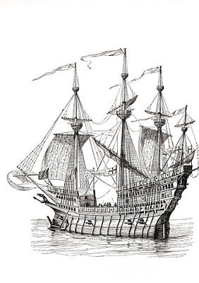 Sail Cloth Drawing - Man-of-war Which Carried King Henry by Vintage Design Pics