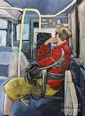 Montreal Scenes Painting - Man On 107 Bus Verdun by Reb Frost