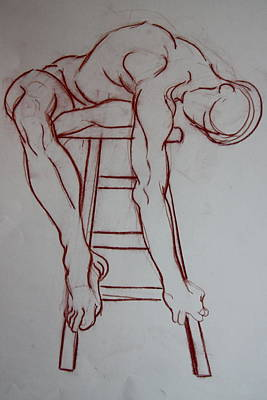 Male Nude Relief Painting - Man On A Stool by Dan Earle