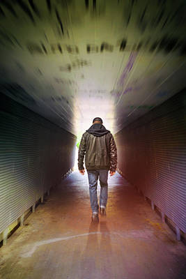 Walking Away Photograph - Man On A Tunnel by Carlos Caetano
