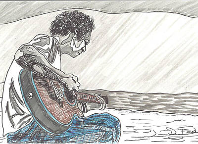 Stratocaster Drawing - Man On Beach by David Fossaceca