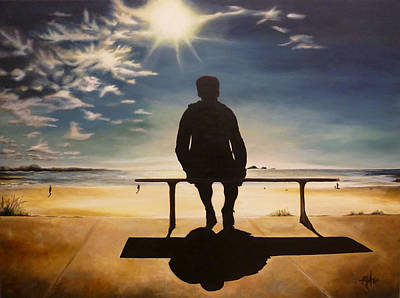 Black By Playing Painting - Man On Bench At Beach by Michelle Iglesias