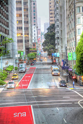 San Francisco Embarcadero Photograph - Man On Corner In The City by SC Heffner