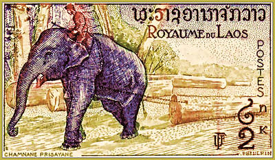 Bamboo Farm Painting - Man On Elephant Pulling Log by Lanjee Chee