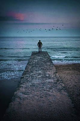 Photograph - Man On Groyne by Carlos Caetano