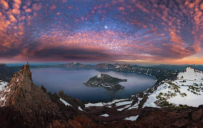 Photograph - Man On Hilltop Viewing Crater Lake With Full Moon by William Lee