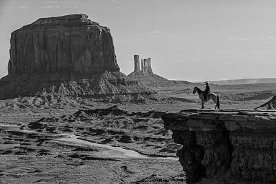 Photograph - Man On Horse Monument Valley by John McGraw