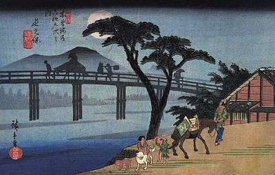 Painting - Man On Horseback Crossing A Bridge by Utagawa Hiroshige