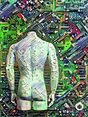 Butt Digital Art - Man On Motherboard by Amy Cicconi