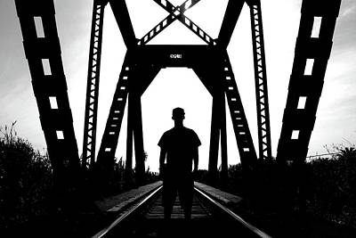 Photograph - Man On Railroad Tracks by Matt Harang