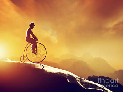 Penny Farthing Photograph - Man On Retro Bicycle Riding Downhill by Michal Bednarek