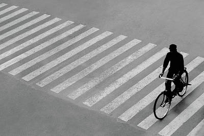 Photograph - Man On The Bicycle And The Zebra Crossing by Prakash Ghai