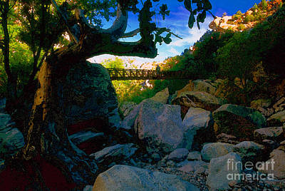 Riverbed Painting - Man On The Bridge by David Lee Thompson