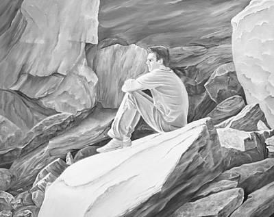 Mixed Media - Man On The Rocks II by Elizabeth Lock