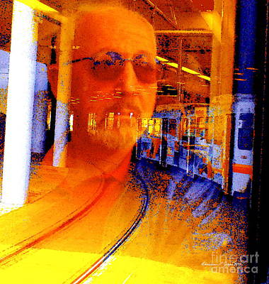Photograph - Man On The Run - Paintograph Featuring Denvers Light Rail Train by Christine S Zipps