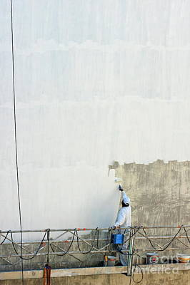 Man Painting The Facade Of A Building Art Print by Sami Sarkis