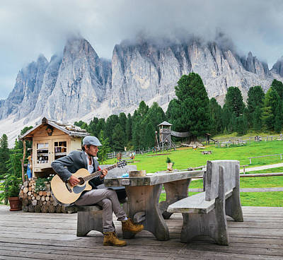 Photograph - Man Playing Guitar In Dolomites, Italy by Alexandre Rotenberg