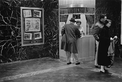 1950s Candids Photograph - Man Purchasing A Movie Ticket by Everett