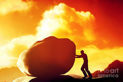 Labor Photograph - Man Pushing A Giant And Heavy Stone by Michal Bednarek
