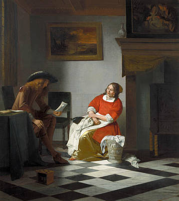 Painting - Man Reading Letter To A Woman by Pieter de Hooch