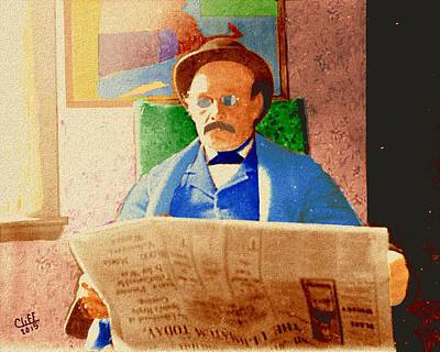William Mckinley Painting - Man Reading Newspaper by Cliff Wilson