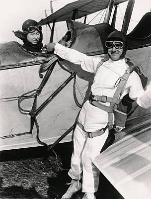 Photograph - Man Ready To Skydive by Underwood Archives