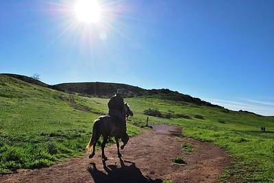 Photograph - Man Riding Horse Through The Hills by Matt Harang