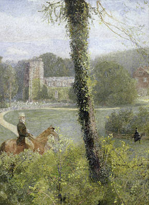 English Gouache Painting - Man Riding To His Lady by John William North