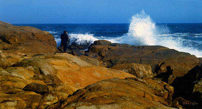 Photograph - Man Rocks And Sea by Frank Wilson