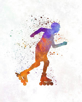 Roller Skating Painting - Man Roller Skater Inline 03 In Watercolor by Pablo Romero