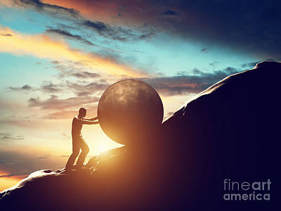 Challenge Photograph - Man Rolling Huge Concrete Ball Up Hill by Michal Bednarek