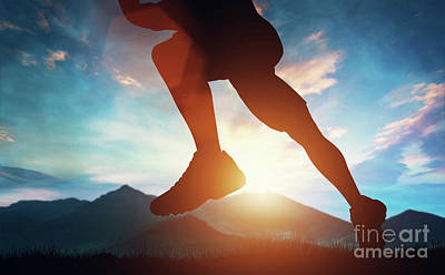 Photograph - Man Running In The Mountains At The Sunset. by Michal Bednarek