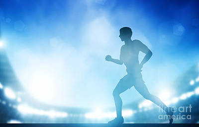 Marathon Photograph - Man Running On The Stadium In Night Lights by Michal Bednarek