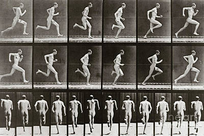 1887 Photograph - Man Running, Plate 62 From Animal Locomotion, 1887 by Eadweard Muybridge