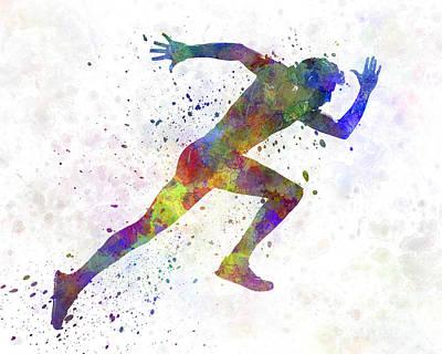 Man Running Sprinting Jogging Art Print by Pablo Romero