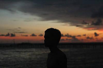 Man Silhouette On Sunset Original