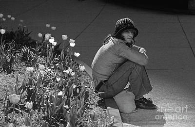 Photograph - Man Sitting Along Curb  by Jim Corwin