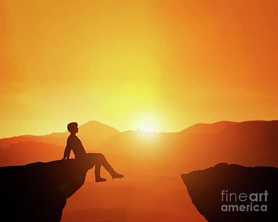Photograph - Man Sitting Relaxed On The Edge Of Mountain Looking At Scenic Sunset Skyline. by Michal Bednarek