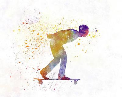 Skateboard Painting - Man Skateboard 03 In Watercolor by Pablo Romero