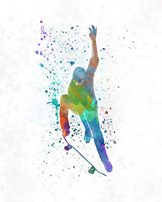 Skating Painting - Man Skateboard 04 In Watercolor by Pablo Romero