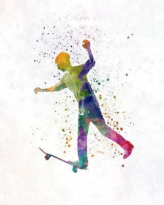 Skateboard Painting - Man Skateboard 06 In Watercolor by Pablo Romero