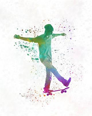 Skateboard Painting - Man Skateboard 07 In Watercolor by Pablo Romero