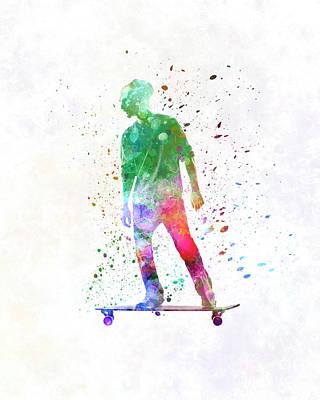 Skateboard Painting - Man Skateboard 08 In Watercolo by Pablo Romero