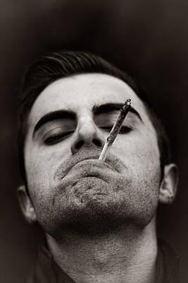 Human Joint Mixed Media - Man Smoking Marijuana by Boyan Dimitrov