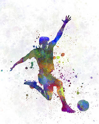 Spray Painting - Man Soccer Football Player 05 by Pablo Romero
