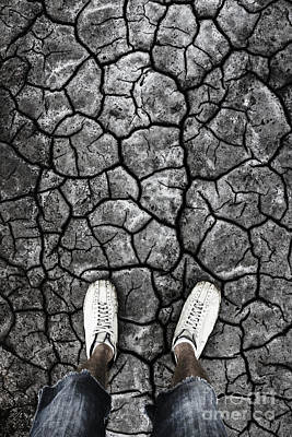 Reality Photograph - Man Standing In Drought Stricken Australia  by Jorgo Photography - Wall Art Gallery