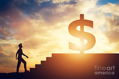Photograph - Man Standing In Front Of Stairs With Dollar Sign On Top by Michal Bednarek