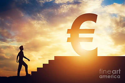 Photograph - Man Standing In Front Of Stairs With Euro Sign On Top by Michal Bednarek